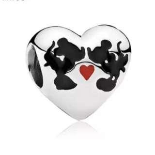 Mickey and Minnie Heart Charm
