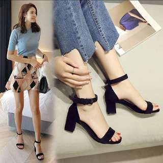 <P.O> Korean Ulzzang Open Toe Suede Heels (Small Sizes Available)