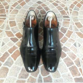 AUTHENTIC MADE IN ITALY Santoni Single Buckle Monk Leather Formal Shoes for Men