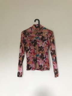 Turtle neck flowers pink