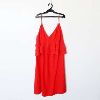 Mango Red-Orange Summer Dress, Size: US 6