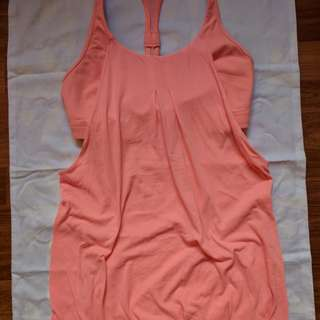 Lululemon Bright Orange Racerback Yoga Top Built in Sports bra