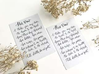 Vow card calligraphy