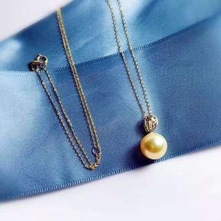 南洋天然金珍珠正圓10~11mm✨18k金鑽石項鍊頸鏈🎁送禮自用
