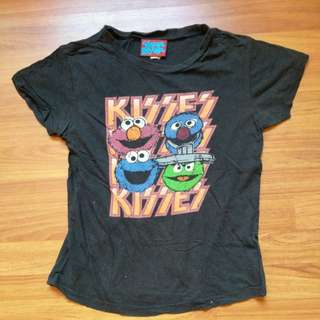 Sesame Street Character Kiss Band Parody Faded Black T-shirt