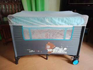 Blue Baby's Crib/ Playpen with changing diaper and mosquito net