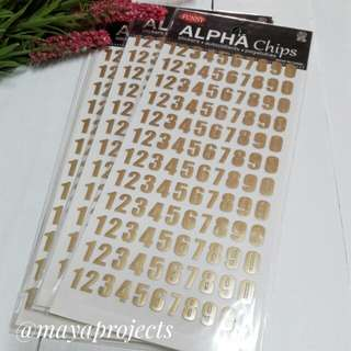 Numbers Sticker Gold
