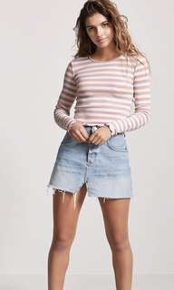 BNWT Forever21 F21 ribbed lettuce-edge striped top