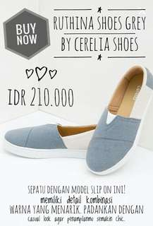 RUTHINA SHOES GREY By Cerelia Shoes