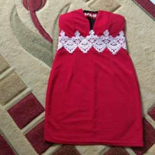 Korean tube red 👗 dress with pearls