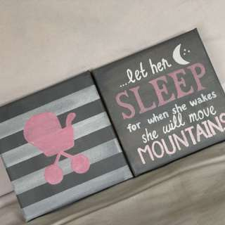 Canvas set decoration for baby girls