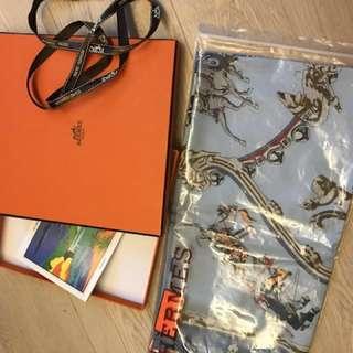 正品 全新 Hermès 真絲 90 x 90 絲巾