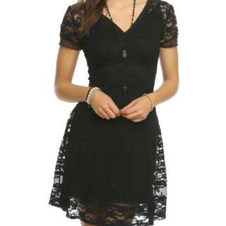 *PRICE DROP* Hot Topic Royal Bones Lace Black Dress
