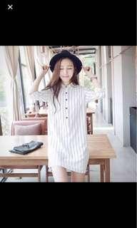 white button down stripped shirt dress.