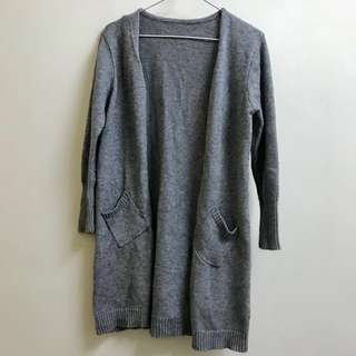 灰色長身針織毛外衣