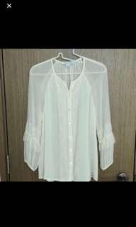 Authentic DVF silk white blouse