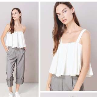 BNWT : AWD CASCADE PLEATED FLARE TOP IN WHITE