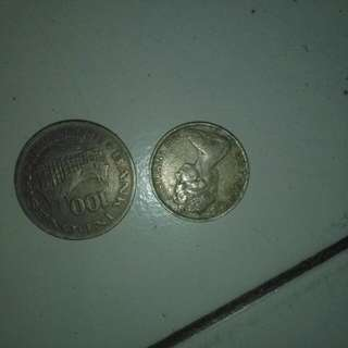 Koin Australia Elizabet Dan 100 Rupiah Indonesia