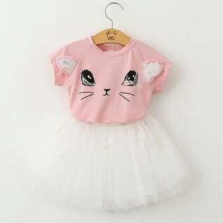 Cat Design Tshirt & Skirt