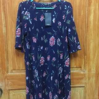Mango Pleated Floral Shift Dress