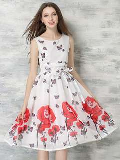 AO/DZC072612 - Charming Tying High Waist Floral Butterfly Chiffon Dress