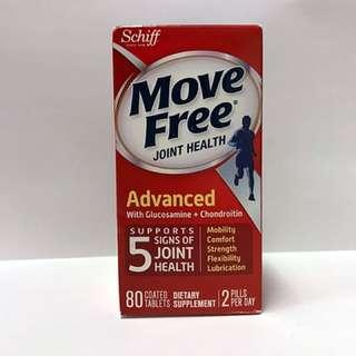 [美國直送] [現貨] Schiff Move Free Advanced Tablets, Joint Health Supplement with Glucosamine & Chondroitin \ Schiff 高效維骨力關節配方 含Uniflex專利草藥提取物及透明質酸 80粒
