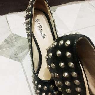 Silver Stud Heel on Black