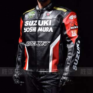 Suzuki Yoshimura  black blue white red armored Racing top jacket leather rocket monster dunlop GSX GSXR