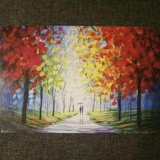 Painting on Postcard