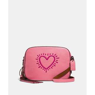 Authentic Coach X Keith Haring Camera Bag Bright Pink