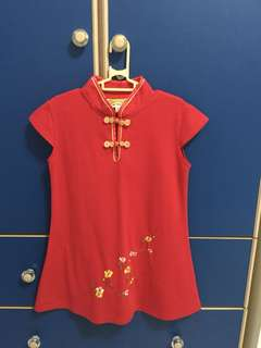 CNY red dress for girl 5-6 years old