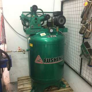 FU SHENG (TAIWAN)  3hp (12bar, 245L, 240V) two-stage air compressor with vertical tank.
