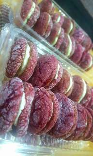 Red velvet crinkles w/ cream cheese filling