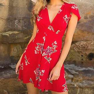 Red/ White Floral Wrap Dress