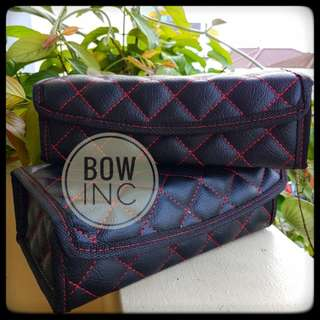 BLACK QUILTED TISSUE BOX