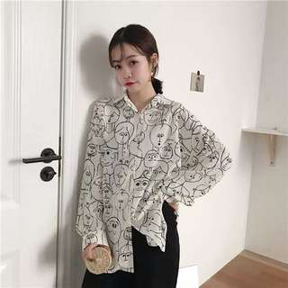 Po: Printed Faces Blouse