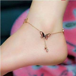 Sexy Butterfly Crystal Drop Anklet