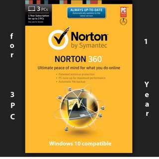 Norton 360 for 3x PCs 1-year license - product key code