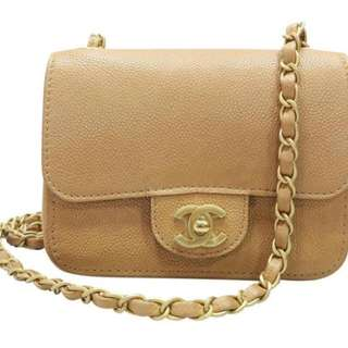 Chanel Classic Mini Square In Sandy Brown Caviar Crossbody Bag with GHW