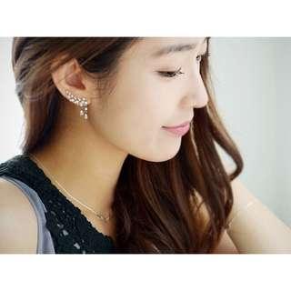 Fashion Earrings Crystal Leaves Tassel