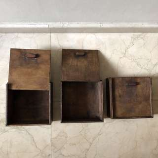 Custom made wooden storage boxes with cover