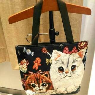 貓咪提花布大背包