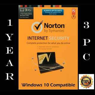 Norton Internet Security for 3x PCs for 1-year - Product key code license
