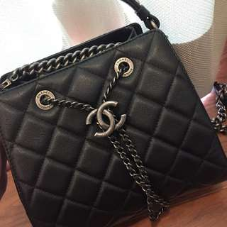 Chanel Small Accordion in Black Caviar with Ruthenium Hardware
