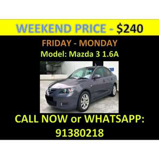 Mazda 3 Weekend Car Rental March