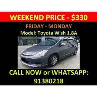 Toyota Wish Weekend Car Rental March