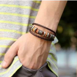 Genuine Leather Bracelets & Bangles 5 Star Pendant Handmade