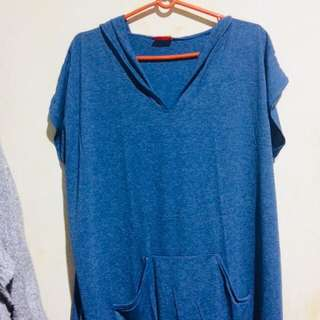 Long Blouse with Hoodie Plus size