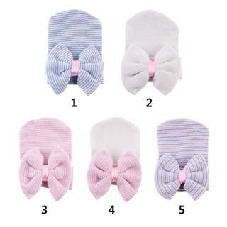 Baby Newborn Stretch Soft Knit Hats Bow Comfy Beanie