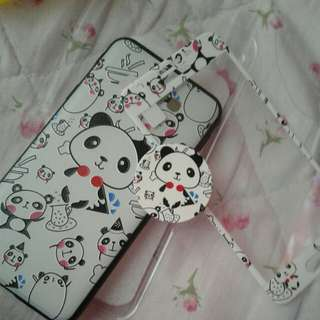 3 in 1 panda case with tempered glass and ring sucket for J5 prime